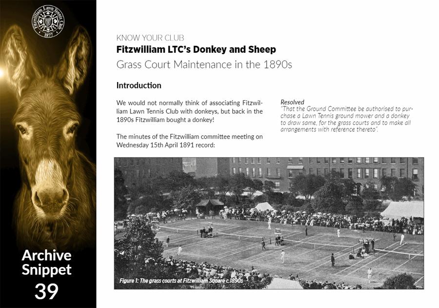 Fitzwilliam Lawn Tennis Club - Donkey and Sheep